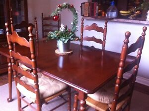 Dining table,leaf, six chairs and matching cabinet - swap/trade