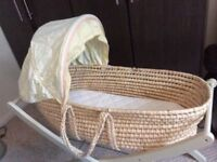 Mothercare Moses Basket, stand, mattress & fitted sheets in excellent condition