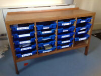 WOODEN STORAGE UNIT WITH TRAYS