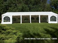 Wedding Tent Rentals - tables, chairs, dance floor, lights