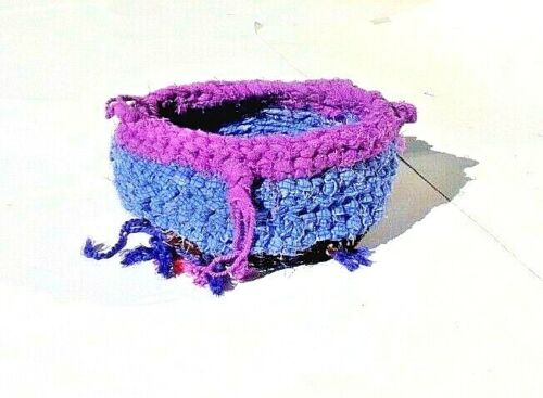 CROCHETED VINTAGE FABRIC BASKET   by BONNIE-D     7.5X3.5""