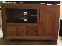 Solid Oak corner TV unit