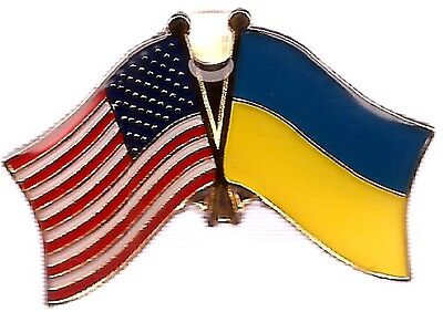 LOT OF 12 Ukraine Friendship Flag Lapel Pins - Ukraine Crossed Flag Pin