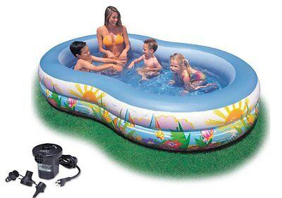 INTEX Swim Center Inflatable Paradise Seaside Kids Swimming Pool w/ Air Pump