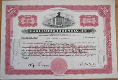 1929 Stock Certificate - ''The Earl Radio Corporation''