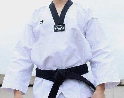 Moospo Taekwondo Uniform+black Belt Dan Dobok Black Collar Uniforms Tae Kwon Do