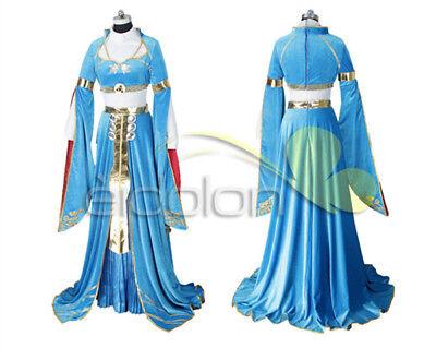 The Legend of Zelda: Breath of the Wild Princess Zelda Blue Cosplay Costume  - Cosplay Legend Of Zelda