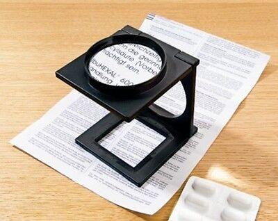 Faltlupe Tisch Lupe faltbar 5-fache Vergrößerung Lesehilfe Leselupe Standlupe