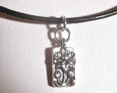 Floating Lotus Charm, Leather & Sterling Silver Yoga Necklace Sundance Artisan