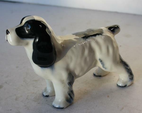 Springer Spaniel Dog Figurine Standing Black White Ceramic-Porcelain Hand Paint