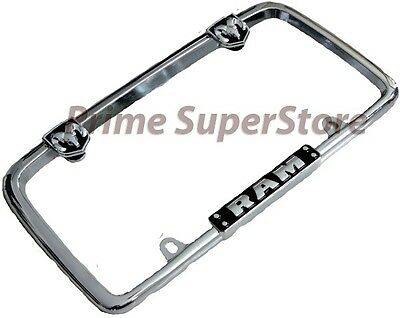 Chrome/Black Dodge Ram Metal License Plate Frame Car/Truck Steel Tag Holder Hemi