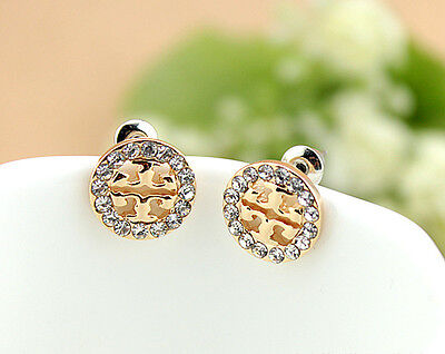 NEW Crystal Clover Style Pierced Stud Gold Earrings Post Back FREE FAST SHIP (Crystal Post Style Earrings)
