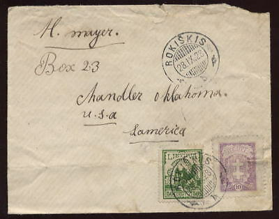 LITHUANIA 1928 COVER 50c +10c FRANKING to USA OKLAHOMA