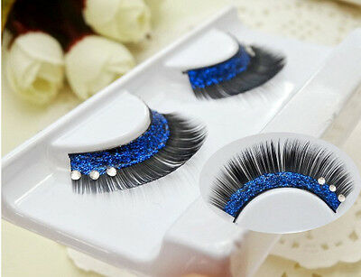 Black+blue Tip Long False Eyelashes Eye Lashes Dance Halloween Costume - Black Eye Halloween Makeup Tips
