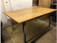 Contemporary modern solid oak top extending dining table stainless steel frame leg
