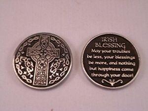 Irish Blessing POCKET TOKEN COIN Keepsake METAL SOLID Celtic Cross St Patrick