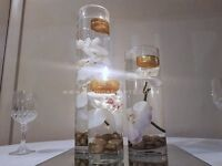 Wedding Cylinder and fishbowl vase centrepieces with orchids London. From £13.50