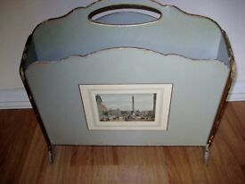 Retro 1950s Pale Green Magazine/Newspaper Rack. OFFERS WELCOME.