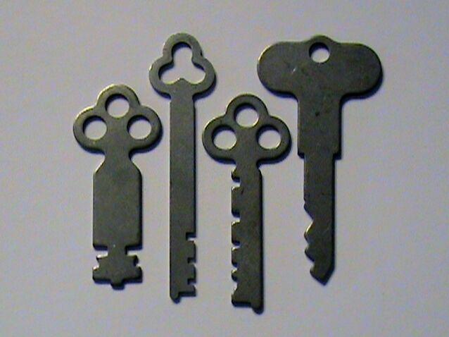 ANTIQUE National Cash Register Keys 1, 2, 5 & Reset Key 300/700 NCR!