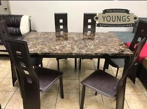 7PCS FAUX MARBLE DINING TABLE SET $199 LOWEST PRICES GUARANTEED