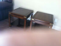 coffee table and 2 end tables solid dark wood