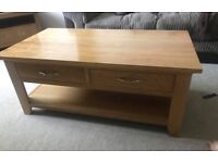 Solid oak corner tv unit and coffee table