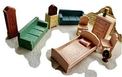 1940's STROMBECKER Wooden Dollhouse Furniture SET: Bedroom, Kitchen & LivingRoom