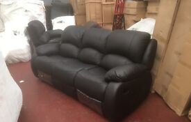Brand new not needed - 3+2 black leather recliner - delivery for all UK