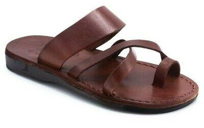 Greek Roman Real Leather Brown Slip on Beach Summer Sandals Slippers Toe Loop 08