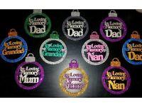 In loving memory personalised Christmas baubles