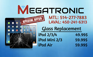 iPad Reparation Vitre -iPad $49 / iPad Air $69/ iPod Touch $39