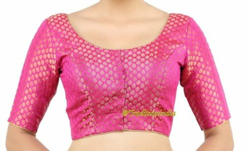 Readymade Saree Blouse,Pink Banarasi Chanderi Silk Blouse,Designer Sari Blouse