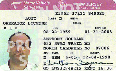 SOPRANOS HBO PROP TONY SOPRANOS REAL DRIVERS LICENSE - REAL ONE & ONLY! 5 FOR 1!