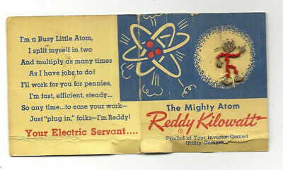 Vintage 1955 The Mighty Atom Reddy Kilowatt Advertising Pin on Card Electricity
