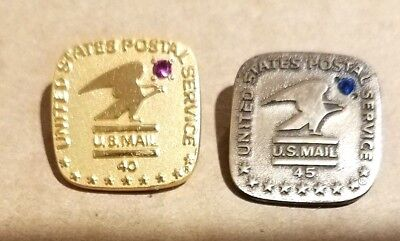 Pair Of Us Postal Service Pins 40 And 45 Yr  10Kt Gold Filled