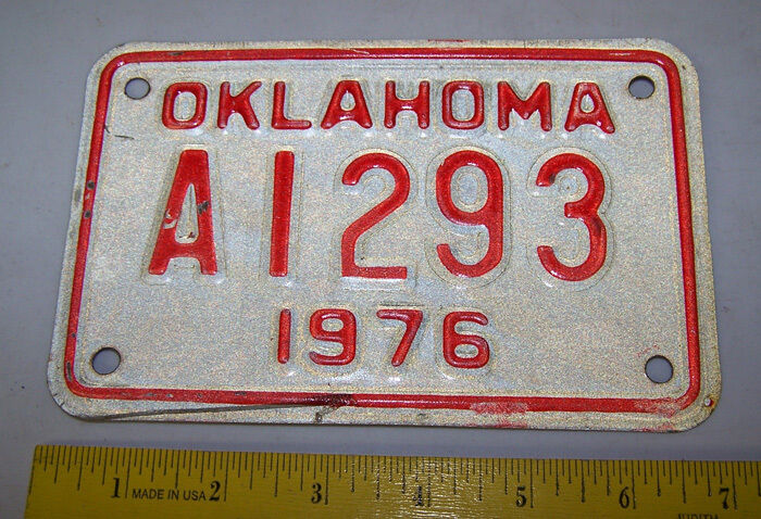 1976 OKLAHOMA Motorcycle License Plate