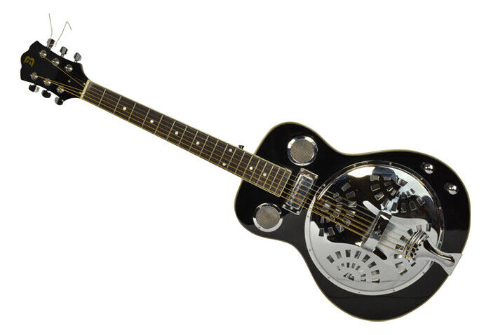 Electro Acoustic Resonator Guitar by Bryce with Internal Pickup, Black Gloss