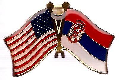 LOT OF 12 Serbia Friendship Flag Lapel Pins - Serbia Crossed Flag Pin