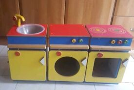 WOODEN VINTAGE PRETEND PLAY OVEN SINK AND WASHING MACHINE
