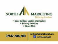 North Marketing Ltd specialises in door to door leaflet/flyer/ card distribution!!! £25per1000!!