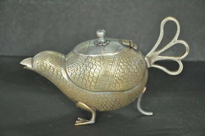 Old Brass Unique Bird / Pigeon Shape Engraved Handcrafted Tea Kettle