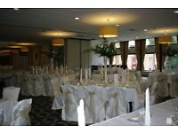 Stunning 130 Stunning ivory chair covers with champaine coloured sash and Royal Navy sash