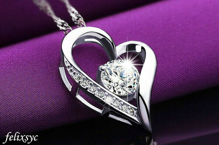 Jewellery - Crystal Heart Pendant 925 Sterling Silver Necklace Chain Women Jewellery Gift UK
