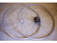 700c Bike Silver Wheelset (front & rear) on Quando Hubs + 7-Speed Cassette. Bicycle wheels.
