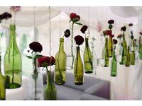 Approx 70 Glass wine Bottles, wedding decor, crafts