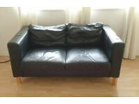 Leather sofas black 2 seaters beach colour legs