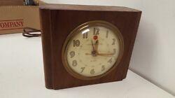 Vintage 1960's GE General Electric Wood Block Alarm Clock Model 7HA162 Works