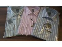 New Calvin Klein Long Sleeve Slim Fit Striped Formal Shirt Blue Size 16