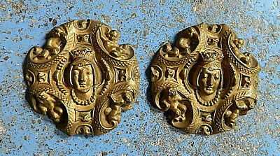 1800 PAIR GOTHIC MEDIEVAL QUEEN W ANGELS PLAQUES EMBOSSED COPPER FURNITURE WALL