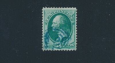 U.S. (1870) #136 3c WASHINGTON; NO FAULTS, VF; **BLUE CANCEL**; CV $37.50
